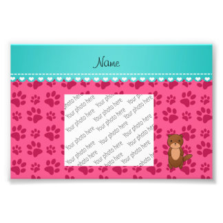 Personalized name otter pink paws photo art