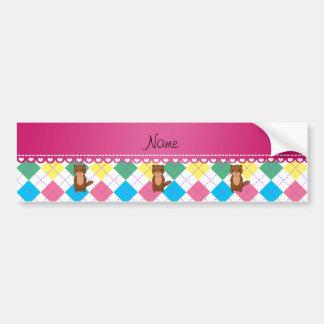 Personalized name otter rainbow argyle bumper sticker