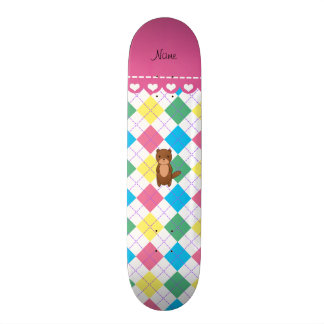 Personalized name otter rainbow argyle skate boards