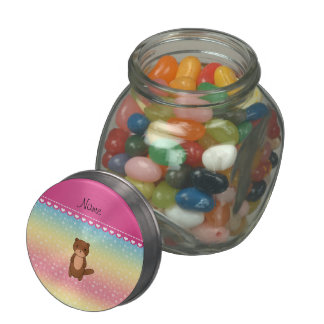 Personalized name otter rainbow stars glass candy jars
