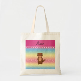 Personalized name otter rainbow stars tote bag