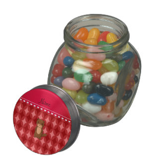 Personalized name otter red circle diamonds glass candy jars