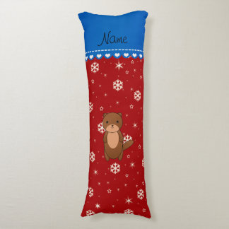 Personalized name otter red snowflakes body pillow