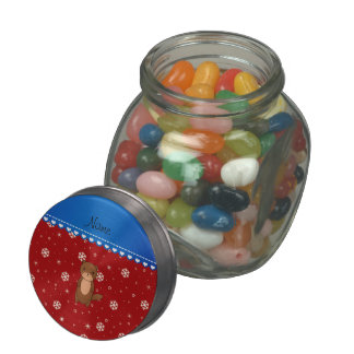 Personalized name otter red snowflakes jelly belly candy jars