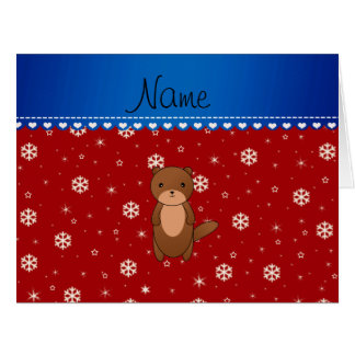 Personalized name otter red snowflakes cards