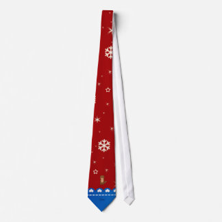 Personalized name otter red snowflakes tie
