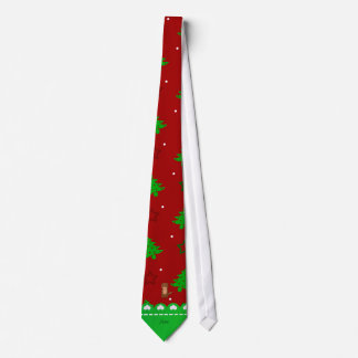 Personalized name otter red trees stars tie