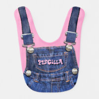 Personalized Name Overalls Fashion Statement Baby Bib