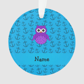 Personalized name owl blue anchors pattern