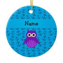 Personalized name owl blue anchors pattern ceramic ornament