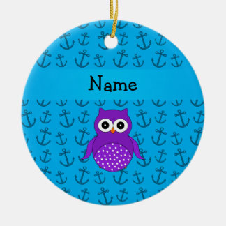 Personalized name owl blue anchors pattern Double-Sided ceramic round christmas ornament