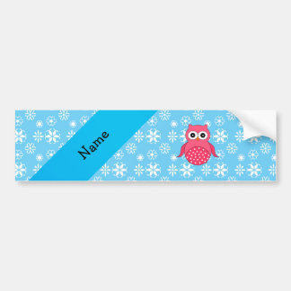 Personalized name owl blue snowflakes bumper stickers