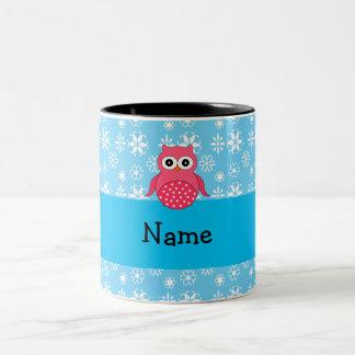Personalized name owl blue snowflakes mug