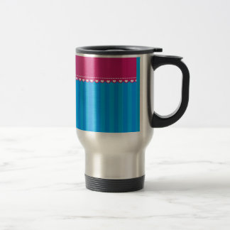 Personalized name owl blue stripes coffee mug