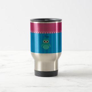 Personalized name owl blue stripes travel mug
