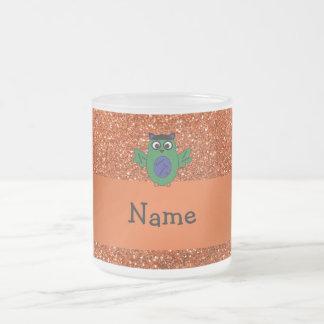Personalized name owl frankenstein orange glitter mugs
