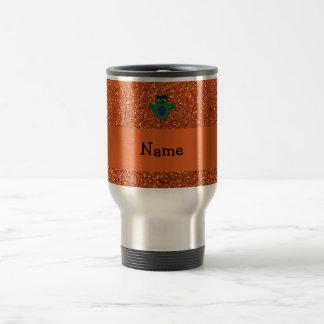 Personalized name owl frankenstein orange glitter mug