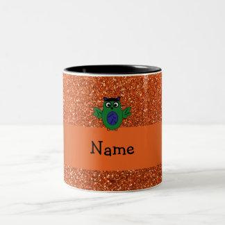 Personalized name owl frankenstein orange glitter coffee mug