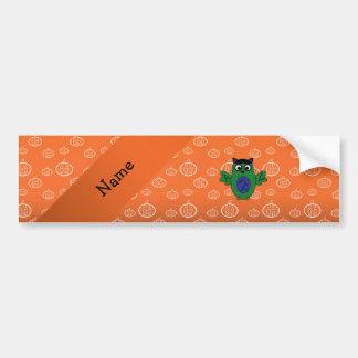 Personalized name owl frankenstein orange pumpkins bumper stickers