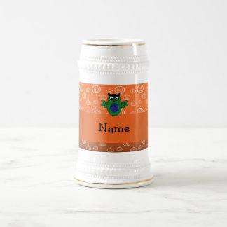 Personalized name owl frankenstein orange pumpkins mugs
