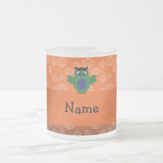 Personalized name owl frankenstein orange pumpkins coffee mugs