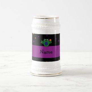 Personalized name owl frankenstein polka dots coffee mug