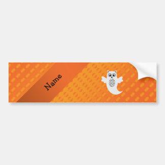 Personalized name owl ghost orange polka dots bumper sticker
