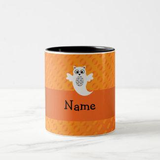 Personalized name owl ghost orange polka dots mug