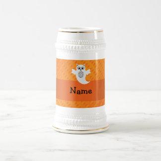 Personalized name owl ghost orange polka dots coffee mugs