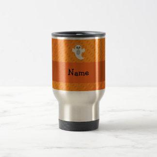 Personalized name owl ghost orange polka dots mugs