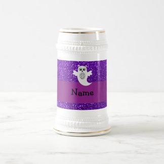 Personalized name owl ghost purple glitter mug