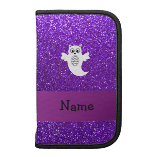 Personalized name owl ghost purple glitter organizers