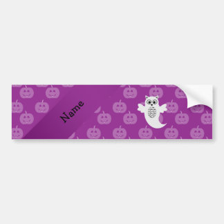 Personalized name owl ghost purple pumpkins bumper stickers