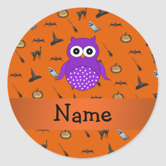 Personalized name owl halloween pattern classic round sticker