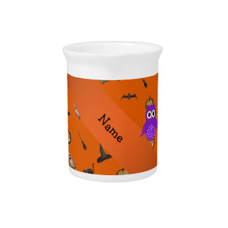 Personalized name owl halloween pattern pitcher