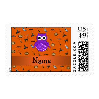 Personalized name owl halloween pattern postage stamp