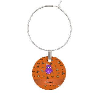 Personalized name owl halloween pattern wine charm