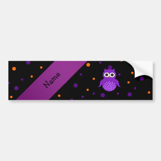 Personalized name owl halloween polka dots bumper stickers