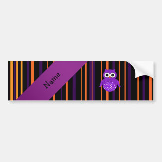 Personalized name owl halloween stripes bumper stickers