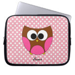 Personalized name owl laptop computer sleeves