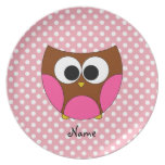 Personalized name owl party plates