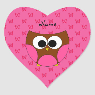 Personalized name owl pink butterflies heart sticker