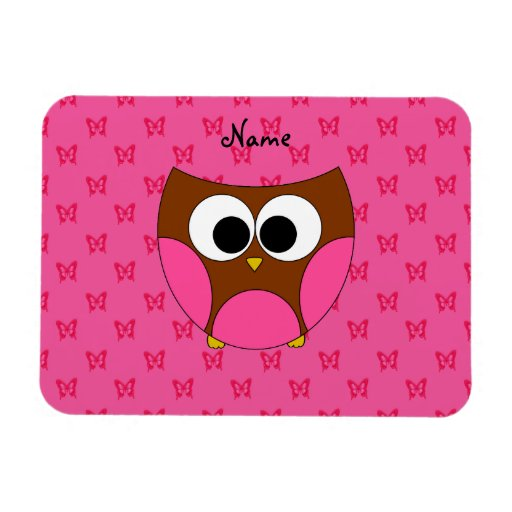 Personalized name owl pink butterflies rectangular photo magnet