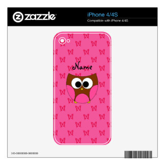 Personalized name owl pink butterflies iPhone 4 skin