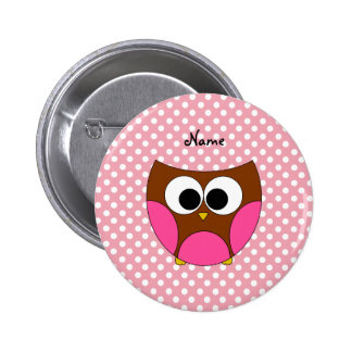 Personalized name owl pink white polka dots 2 inch round button
