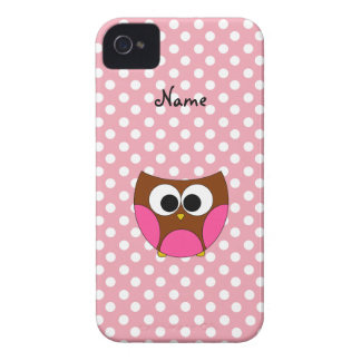 Personalized name owl pink white polka dots iPhone 4 cover