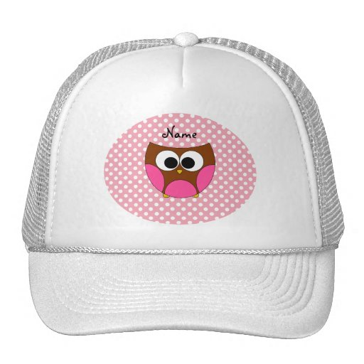Personalized name owl pink white polka dots trucker hat