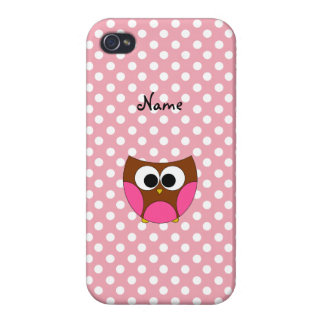 Personalized name owl pink white polka dots iPhone 4/4S cover