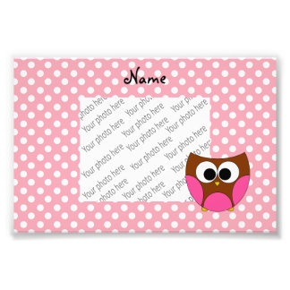 Personalized name owl pink white polka dots photographic print