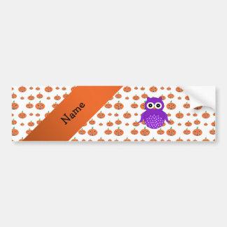 Personalized name owl pumpkins pattern bumper sticker